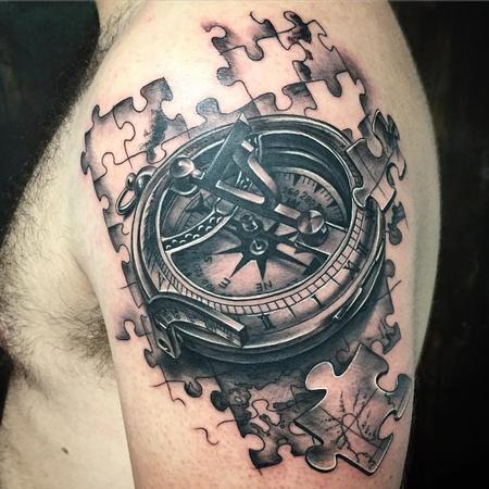Tattoos - Realistic Compass with Jigsaw Pieces in Black and Gray - 127861