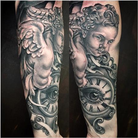 Tattoos - Realistic Cherub Angel with Clock in Black and Gray - 127999