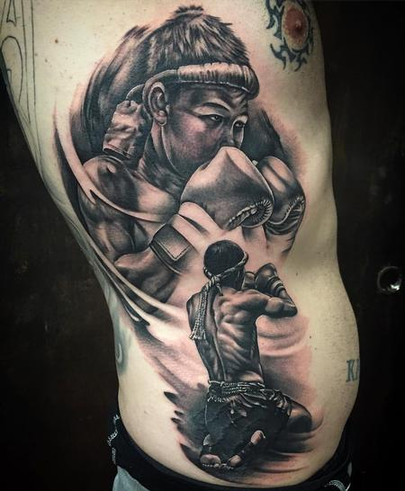 Tattoos - Realistic Muay-Thai Fighter in Black and Gray - 128250