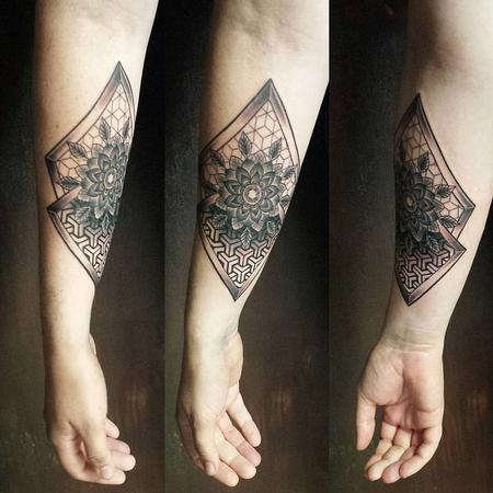 Geometrical Pattern with Flower in Blackwork Design Thumbnail