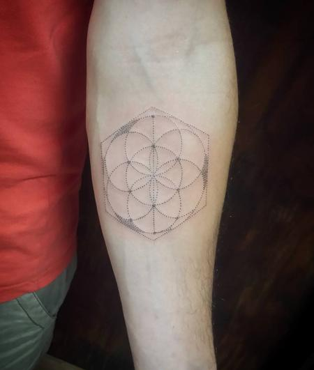 Tattoos - Geometrical Circles Dotwork Tattoo - 128394