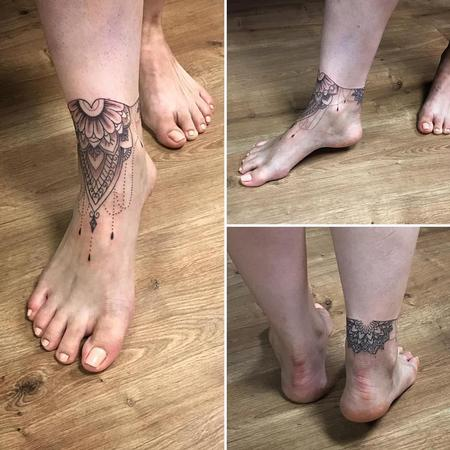 Ornamental Blackwork Tattoo on the Foot Design Thumbnail