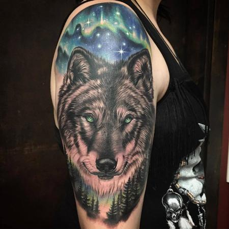 Tattoos - Realistic Wolf with Nature Details in Color - 128921