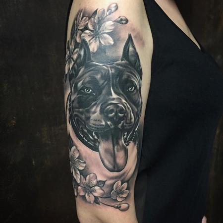 Tattoos - Realistic Pitbull Portrait with Flowers in Black and Gray - 128904