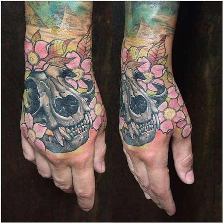 Tattoos - Realistic Cat Skull with Freehand Flowers in Color - 128980