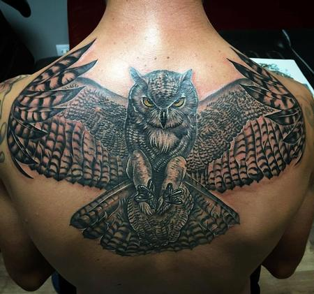 Tattoos - Realistic Owl with Colored Details - 129112