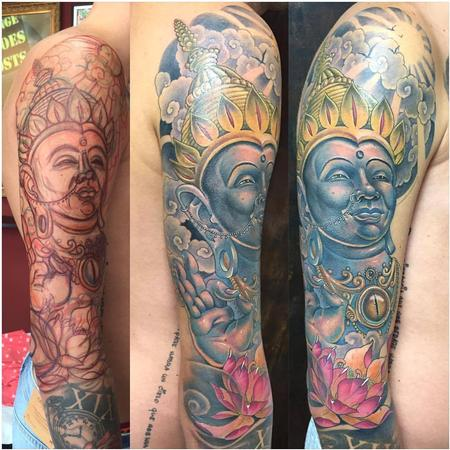Tattoos - Freehand Buddha in Color - 130175
