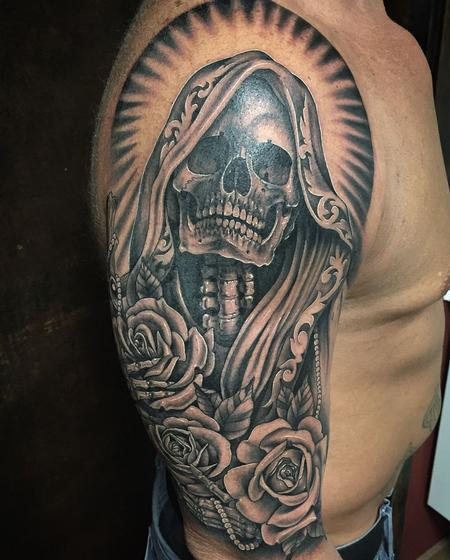 Tattoos - Santa Muerte and Roses in Black and Gray - 130263