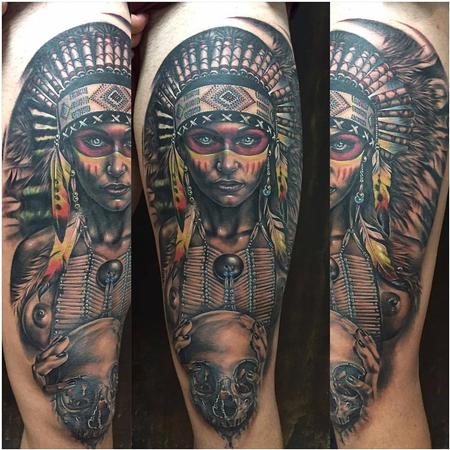 Tattoos - Realistic Native American Woman - 130264