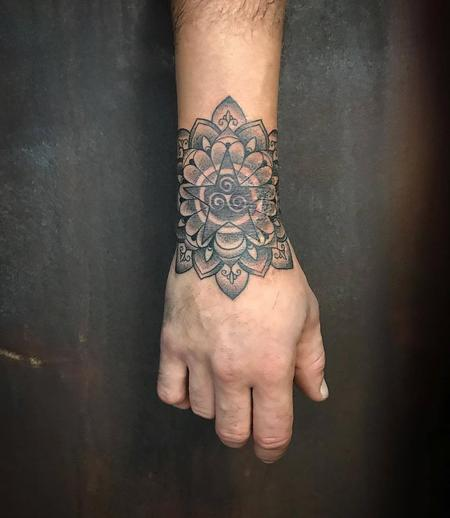 Tattoos - Blackwork and Dotwork Flower and Star Mandala - 130313