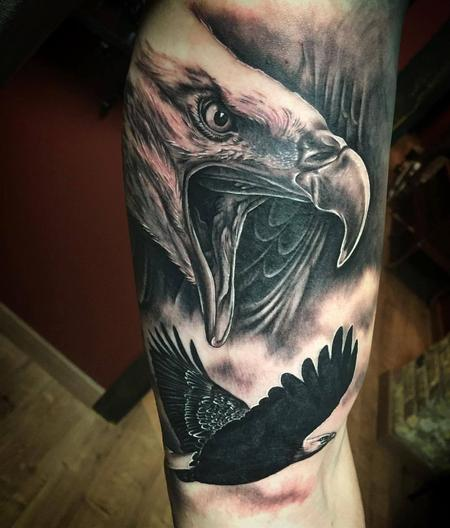 Tattoos - Realistic Eagles in Black and Gray - 130750