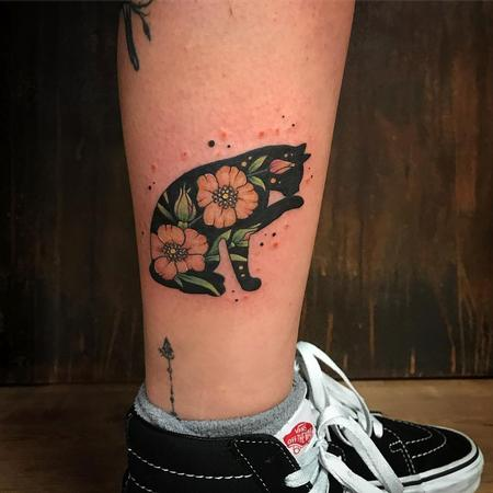 Tattoos - Black Cat with Flowers in Color - 131442