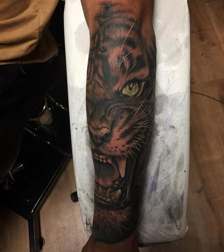 Tattoos - Realisic Tiger Half-Face in Black and Gray - 131565