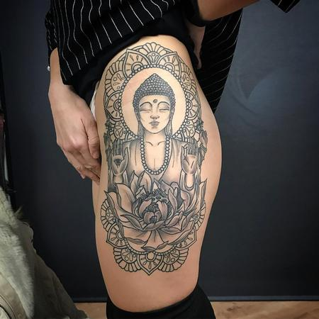 Tattoos - Blackwork Buddah with Mandalas and Flower - 131591