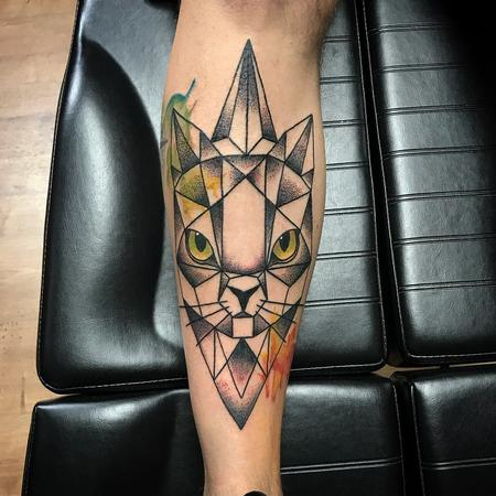 Tattoos - Geometric Cat with Color and Dotwork Shading - 131812