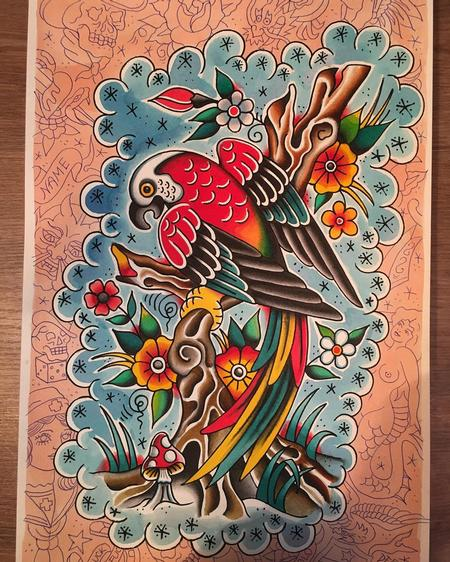 Tattoos - Loro Estilo Tradicional Posado en Rama con Flores a Color - 131817