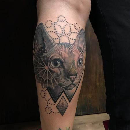 Tattoos - Realistic Sphinx Cat With Geometric Details - 131811