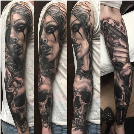 Tattoos - Full sleeve black and grey woman face,skull, gun - 132155