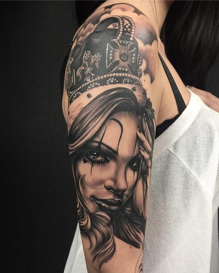 Tattoos - Girl/crown/black and grey - 132528