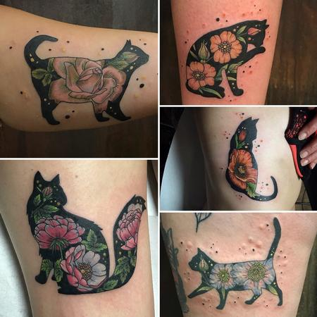 Tattoos - Cat/flowers  - 132702