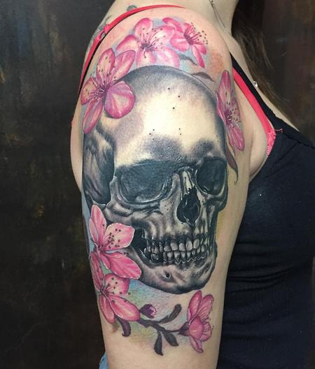 Tattoos - Skull and cherry flowers - 132934