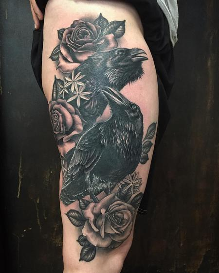 Tattoos - Crows and roses - 133373