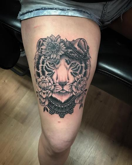 Tattoos - Tiger black and grey - 133763