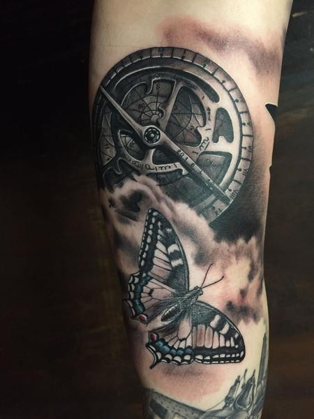 Tattoos - Realistic Compass and Butterfly in Black and Gray - 125536