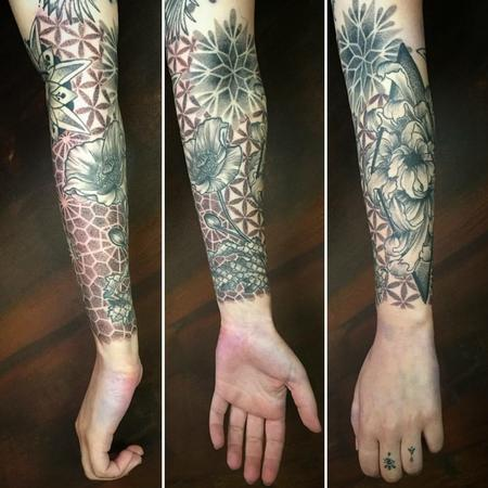 Tattoos - Sleeve with Geometric Elements and Flowers in Dotwork - 128495