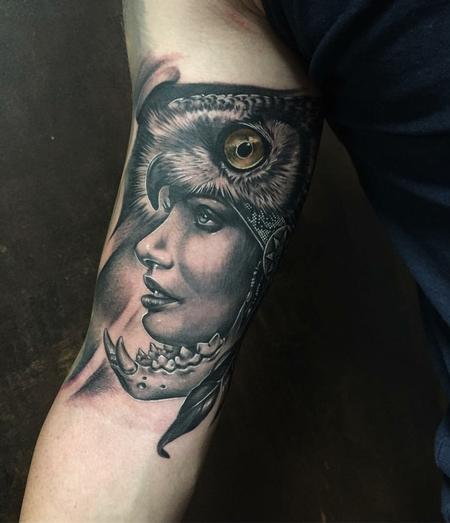 Tattoos - Realistic Tribal Woman with Owl Head in Black and Gray - 128562