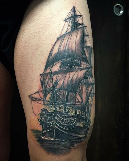 Tattoos - Realistic Sail Ship in Black and Gray - 128651