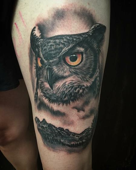 Tattoos - Realistic Owl and Mountains in Black and Gray - 128661