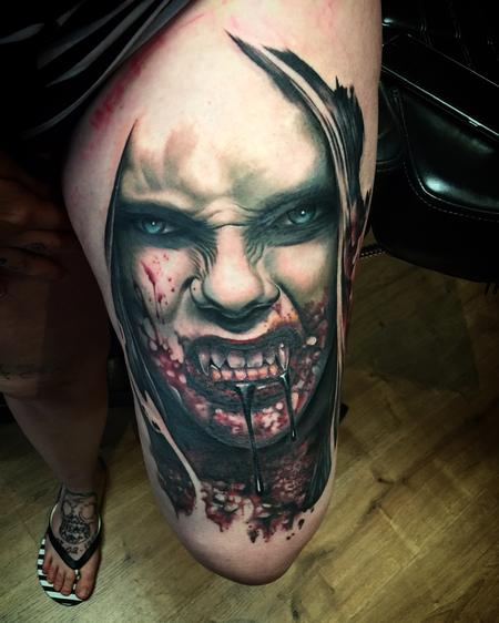 Tattoos - Realistic Female Vampire in Color - 128423