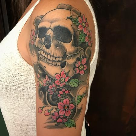 Tattoos - Skull/cherry flower - 132455