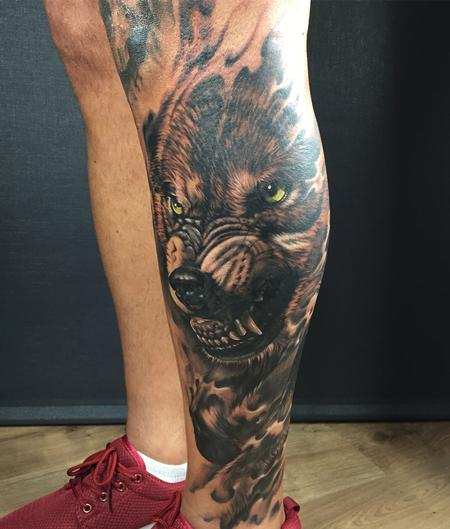 Tattoos - Wolf Black and grey - 132498