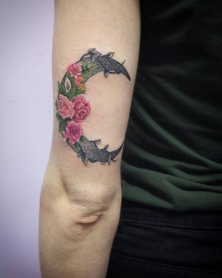 Tattoos - Crescent Rose Moon Tattoo - 116663