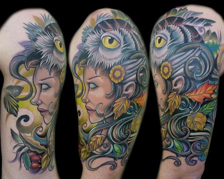Mother Nature with Owl Head Tattoo Design Thumbnail