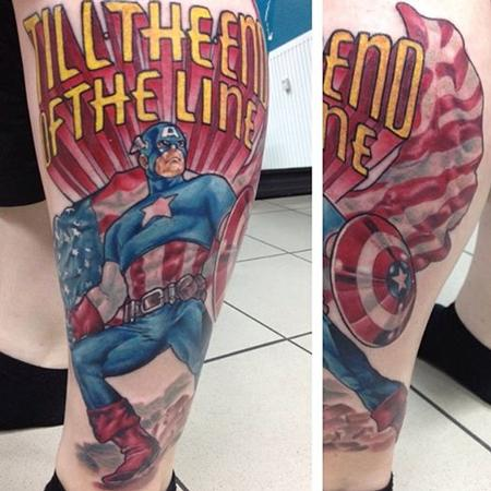 Captain America with Script Tattoo Design