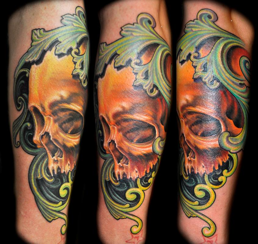 Realistic color skull tattoo with filigree by nate beavers for Color skull tattoos