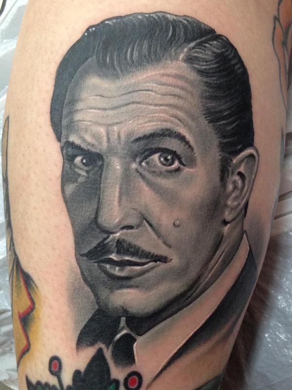 Black and gray vincent price portrait tattoo by nate for Best tattoo artist in houston texas