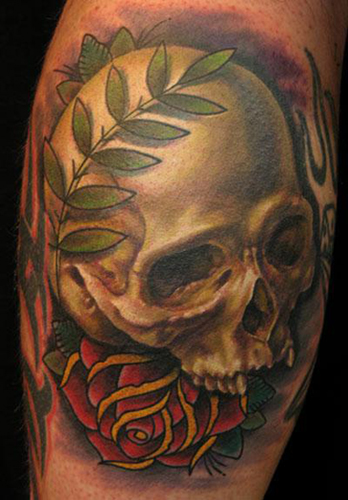 Tattoos - Skull and Wreath Tattoo - 22323