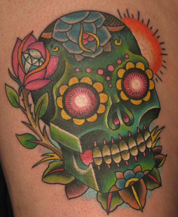 Tattoos - Green Sugar Skull - 22347