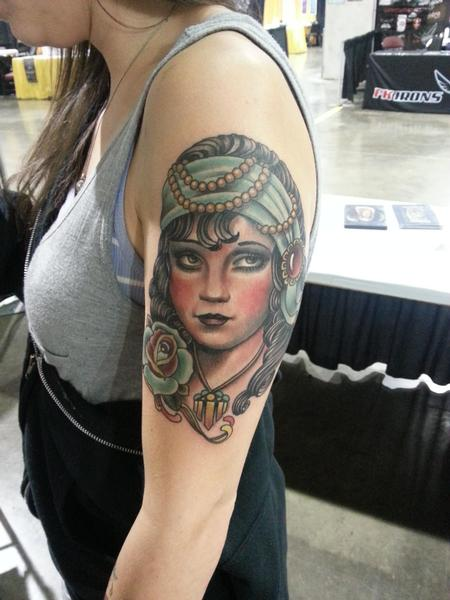 Nate Beavers - traditional gypsy girl tattoo