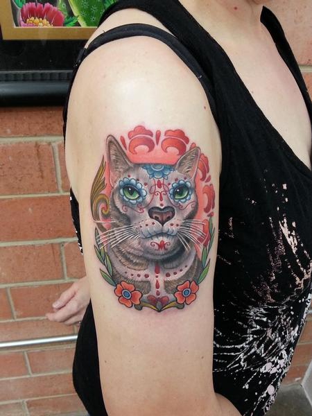 Tattoos - sugar skull cat portrait tattoo - 82435