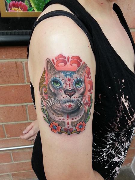 Animal sugar skull tattoo - photo#13