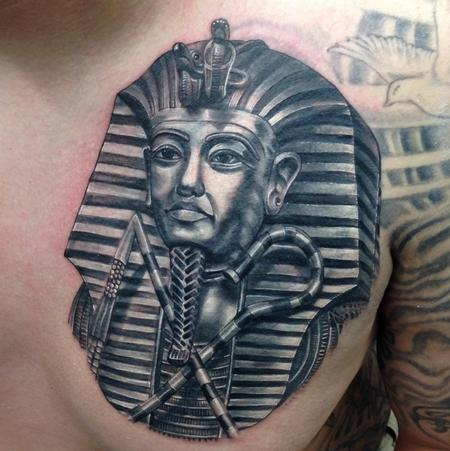 Tattoos - black and grey pharaoh portrait tattoo - 91986
