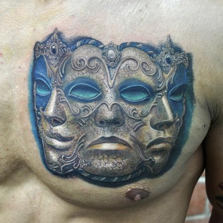 Tattoos - three headed Venetian mask color portrait - 91692