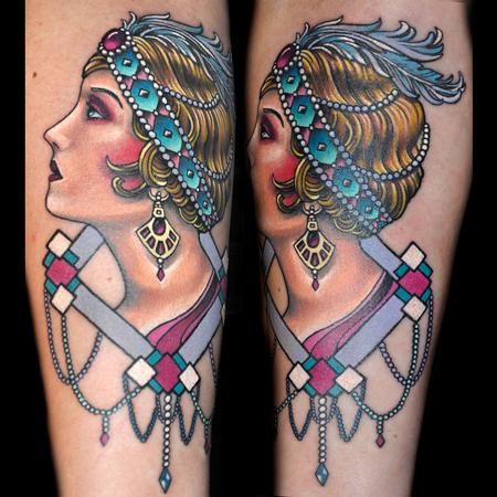 Tattoos - Traditional Flapper Girl Tattoo - 79496