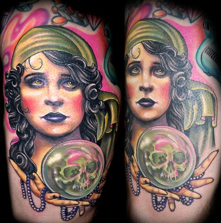 Tattoos - Color Vintage Fortune Teller Tattoo - 73912