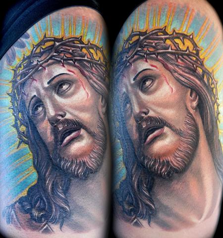 Tattoos - color Jesus portrait tattoo - 78218